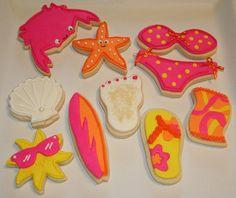 surf and sun cookies Summer Cookies, Fancy Cookies, Cute Cookies, Cupcake Cookies, Cupcakes, Cupcake Art, Iced Cookies, What's My Favorite Color, Favorite Things