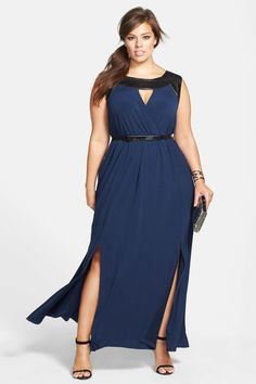 City Chic Faux Leather Trim Maxi Dress (Plus Size) by City Chic on @nordstrom_rack  I am feeling this dress, particularly at this price