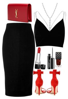 """""""Untitled #1637"""" by mihai-theodora ❤ liked on Polyvore featuring Gianvito Rossi, Victoria Beckham, River Island, Yves Saint Laurent, Christian Dior, MAC Cosmetics, Tiffany & Co. and Gucci"""