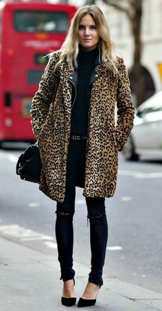 leopard faux fur coat. black denim.