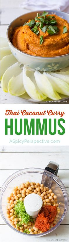 5-Ingredient Thai Coconut Curry Hummus on http://ASpicyPerspective.com #hummus #healthy #thai