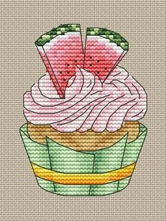 Cupcake Cross Stitch, Cross Stitch Fruit, Small Cross Stitch, Cross Stitch Kitchen, Cross Stitch Designs, Cross Stitch Patterns, Loom Patterns, Cat Cross Stitches, Cross Stitch Needles