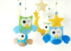 Owl Felt Mobile  Owl Baby Crib Mobile Nursery Mobile by LajjaDecor