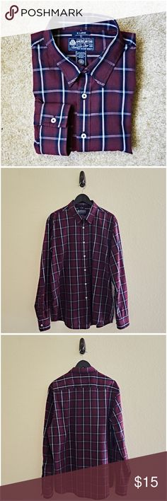 American Rag Plaid Shirt This item is used (only used once). It's a burgundy plaid button down shirt.   ** Details ** - X-Large - Burgundy - Plaid - Long Sleeve - Button Down - 60% Cotton / 40% Polyester American Rag Shirts Casual Button Down Shirts
