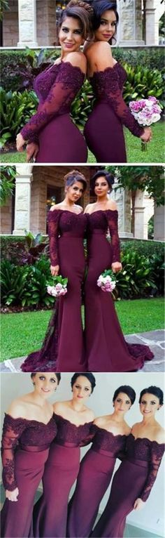 2018 Sexy Mermaid Long Sleeve Lace Long most popular Bridesmaid Dresses with Small Train The short bridesmaid dresses are fully lined, 4 bones . Mermaid Bridesmaid Dresses, Mismatched Bridesmaid Dresses, Bridesmaid Dresses Online, Burgundy Bridesmaid, Bridesmaid Ideas, Bridesmaids, Prom Dresses, Maid Of Honor Dress Long, Maid Of Honour Dresses