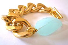 Chain Link Bracelet and Aqua Quartz - Oia Jules on Etsy