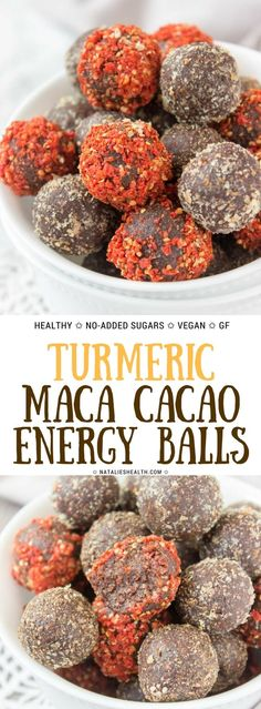 Packed with 4 powerful superfoods, these No Bake Turmeric Maca Powder Cacao Energy Balls are super simple snack that is both satisfying and good for your health. Nutty and deliciously sweet, these power balls are the perfect energizing, good mood snack. #healthy #energyballs #energybites #healthylife #hralthyeating #healthyfood #superfoods #glutenfree #vegan #sugarfree #weightloss #wholefoods #turmeric #macapowder #macaroot #chocolate #nobake | READ MORE at www.natalieshealth.com