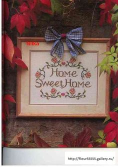home sweet home Cross Stitch Borders, Cross Stitch Alphabet, Cross Stitch Samplers, Cross Stitch Designs, Cross Stitching, Cross Stitch Embroidery, Cross Stitch Patterns, House Blessing, Palestinian Embroidery