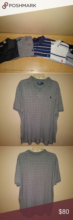 Lot of 5; Ralph Lauren striped jersey Izod polo - IZOD Performance Pique Polo L 100% Polyester Moisture wicking UV protection 2 Button placket  Ralph Lauren polo white stripe XL* 100% Cotton Polo Ralph Lauren Men Classi Polo Shirt Short sleeve *stains are in front of product  Ralph Lauren polo blue stripe XL 100% Cotton Classic Fit Short sleeve Machine washable  Ralph Lauren Polo grey stripe jersey XL 100% Cotton Regular Fit Two-button placket Short sleeves  - Chili Pepper XXL - Port…