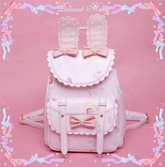 Being the most beautiful Lolita princess, Milanoo Sweet Lolita Backpack Bows Bunny Print PU Soft Pink Lolita Shoulders Bags couples with sweet styles and comfortable materials at affordable prices. Pastel Fashion, Kawaii Fashion, Lolita Fashion, Cute Fashion, Fashion Bags, Kawaii Bags, Kawaii Clothes, Ropa Color Pastel, Pastel Pink