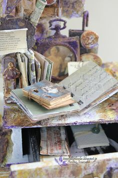 Mixed Media Altered box - vintage miniature desk by Phoebe Tonosaki