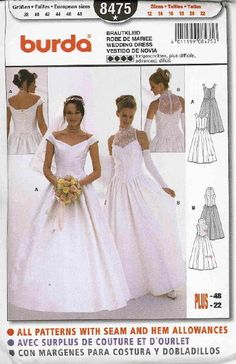 couture wedding dress patterns Dress on the left? Diy Wedding Dress, Wedding Dress Patterns, Blue Wedding Dresses, Dress Sewing Patterns, Wedding Gowns, Crochet Patterns, Plus Size Bridal Dresses, Gown Pattern, Bridal And Formal