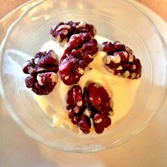 Red Walnuts on creamy Vanilla Ice Cream