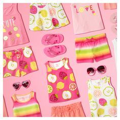 Fruit-ful looks for a play date! | Activewear | Toddler girls' fashion | Kids' clothes | Knit shorts | Knit skort | Tank top | Sunglasses | Flip flops | The Children's Place