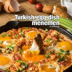 Turkish Egg Dish Menemen Recipe Breakfast and Brunch with olive oil, onions, green pepper, chopped tomatoes, garlic, green onions, salt, cage free eggs, black pepper, mint leaves
