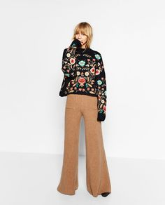 Image 1 of FLORAL EMBROIDERED SWEATER from Zara