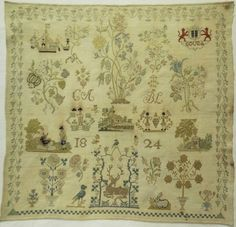 EARLY 19TH CENTURY DUTCH MOTIF SAMPLER INITIALLED CA/BL & DATED 1824
