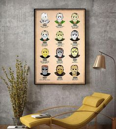 Mask by Years Horror characters poster canvas decor Halloween Wall Decor, Halloween Gifts, Handsome Boys, Bobber, Kittens, Horror, Canvas Art, Characters, Entertaining
