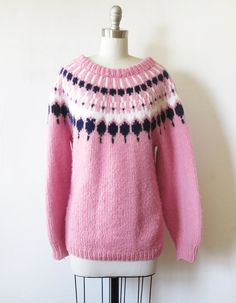 fair isle sweater / vintage pink nordic sweater by RustBeltThreads