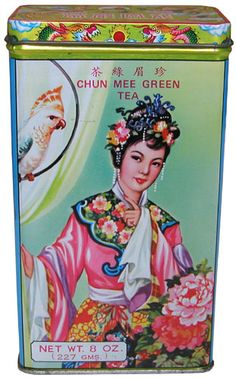 Nice antique tea tin, but  that's an awfully Western-looking model...