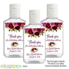 Hand Sanitizer Labels Burgundy Flowers Wedding Bridal Shower Personalized Digital Label Printable Label for Shower Favor or Wedding Shower Favors, Party Favors, Pinning Ceremony, Enchanted Evening, Round Labels, Mini Hands, Burgundy Flowers, Label Paper, Personalized Labels
