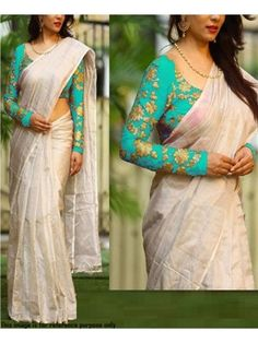 Flaunt a new ethnic look wearing this saree from Rimzim Enterprise. Featuring a beautiful skyblue color Sequence and embroidery work UN-stitch blouse , this saree is a must-have in your ethnic wear collection. Made from Chanderi, this saree is easy to dra White Saree Blouse, Off White Saree, Kerala Saree Blouse Designs, Fancy Blouse Designs, Trendy Sarees, Fancy Sarees, Indian Designer Sarees, Elegant Saree, Saree Look