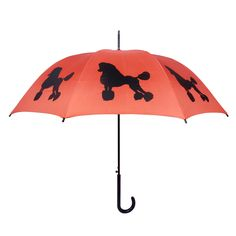 """- A beautiful black Poodle on an orange canopy - Very high quality walking stick style rain umbrella - Orange/Black - 34.5"""" long, 40"""" wide canopy when open - 190T Pongee polyester canopy - Fiberglass"""