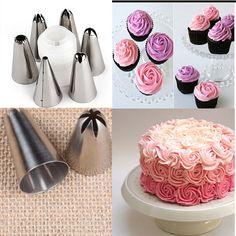 6 Unids/set Torta Bolsa de Decoración de Fondant Icing Crema Piping Boquillas + 1 Acoplador