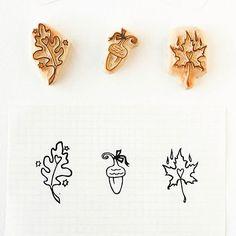 Fall's inspirations. #inspiration #stamp #carvedrubberstamp #leaves #acorn #peekaboostamps #woodlandtale https://www.etsy.com/shop/WoodlandTale