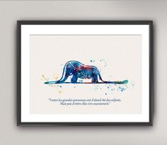 The LITTLE PRINCE Nº16 french quote Watercolor Print - Le Petit Prince Quote Elephant Hat Silhouette Saint-Exupéry Painting Wall Gift Decor by oinkartprints on Etsy https://www.etsy.com/listing/248398219/the-little-prince-n16-french-quote
