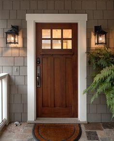 70 Best Modern Farmhouse Front Door Entrance Design Ideas images ideas from Best Door Photos Collection Craftsman Front Doors, Exterior Front Doors, Farmhouse Front Doors, Exterior Trim, Craftsman Door Exterior, Craftsman Homes, Modern Craftsman, Colonial Front Door, Craftsman Windows