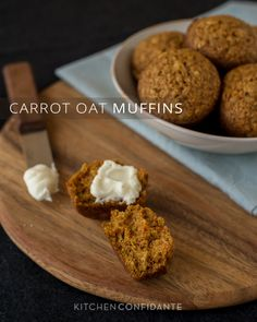 Carrot Oat Muffins |  use way less sugar and a little less oil. Otherwise it's more like cake than a healthy muffin. You can often replace sugar with apple sauce.