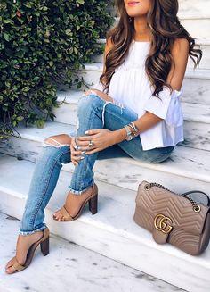 #spring #fashion  White Open Shoulder Blouse & Destroyed Skinny Jeans & Nude Sandals