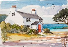 """""""Fisherman's Cottage"""" by Annabel Burton, English Artist who works in Watercolour, Acrylic & Oil Paints . Watercolor Painting Techniques, Watercolor Projects, Watercolor Landscape Paintings, Watercolor Images, Landscape Drawings, Watercolor Sketch, Watercolour Painting, Landscape Art, Landscapes"""