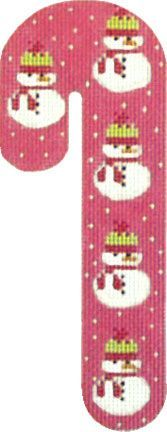 Melissa Shirley Designs | Hand Painted Needlepoint | Snowman Candy Cane