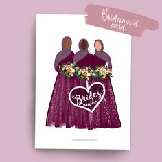 Excited to share this item from my shop: Bridesmaid - Greeting card - Hijabi Eid Cards, Greeting Cards, Wedding Drawing, Eid Mubarak Greetings, Boutique Decor, Learn Islam, Islamic Gifts, Apple Wallpaper, Pretty Cards
