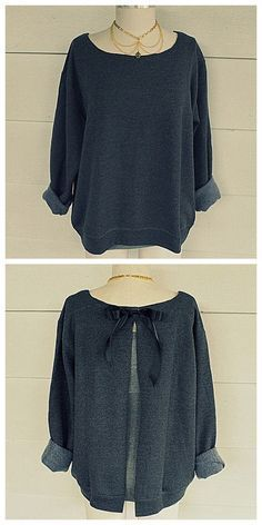 DIY Ribbon Tie Sweatshirt Refashion Tutorial from Wobisobi.Except for sewing a teeny bit where you attach the ribbon, this is a no sew DIY. For a huge archive of excellent DIY sweatshirt restyles go...