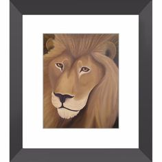 Lion - Framed Print of Wildlife Animal Totem Monochromatic Acrylic Painting Fine Art - The Unfolding Butterfly
