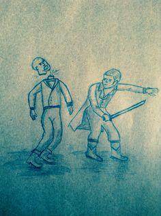 Grimm dizisindeki grimm kardeşlerin günlüğünde olan çizimlerden bakarak yaptım