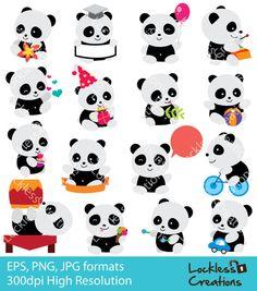 Happy Panda Digital Clip Art (ED) (Instant Download)