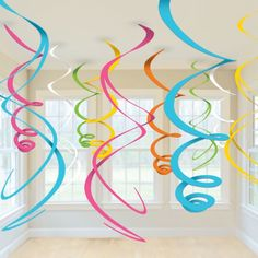Cut giant swirls to hang from the ceiling for a birthday party! Make for adalynns bday party Cheap Party Decorations, Birthday Decorations, Hanging Decorations, Rainbow Decorations, Holiday Decorations, Festival Decorations, Fiestas Peppa Pig, Spring Party, Diy Party
