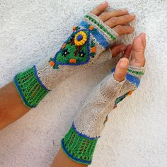 Fingerless Gloves Enterlac Knit in Boho Style by Dom by domklary