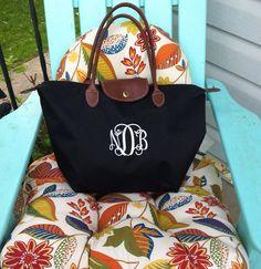 Medium Sized Monogram Champ Tote Bag - Monogrammed Nylon Handbag- Makes a great bridesmaid gift, bridal party gift
