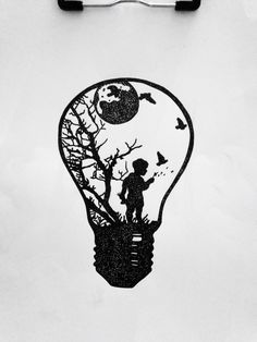 Dotwork tattoo design, lightbulb, little boy