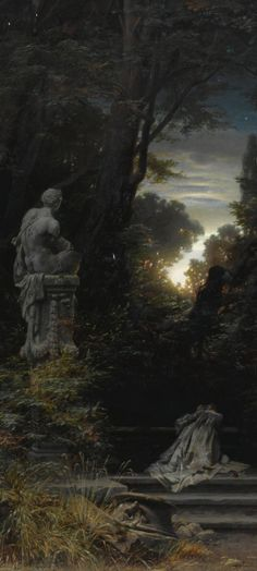 """A Woman at a Fountain with Rising Moon"" by Ferdinand Knab, 1866 (detail)"