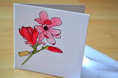 Handmade personalised card with red/pink handpainted flower by ForgetMeNotGallery on Etsy #personalised # handmade #card