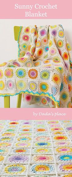 Sunny Crochet blanket is colorful granny square blanket made by Dada's place. Link to the free granny square pattern and step-by-step tutorial. Free crochet chart for the border designed by Dada's place Baby Granny Square Blanket, Crochet Blanket Border, Granny Square Pattern Free, Sunburst Granny Square, Crochet Blanket Patterns, Free Pattern, Granny Squares, Square Patterns, Granny Granny