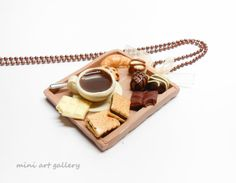 25% off SALE - Breakfast tray necklace / chocolate, cookies, biscuits, croissant, coffee cup / mini food jewelry, kawaii miniature / handmade polymer clay. By Mini Art Gallery