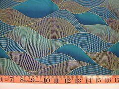 1/2 Yard Kona Bay Fabric EMPR-08 Turquoise Waves 2006 100% Cotton