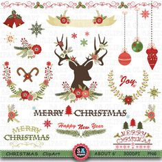 Christmas Clipart  CHRISTMAS CLIPART pack Vintage by SAClipArt